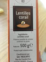 Lentilles Corail - Ingredienti - fr