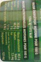 Lentille verte du Puy AOP - Informations nutritionnelles - fr