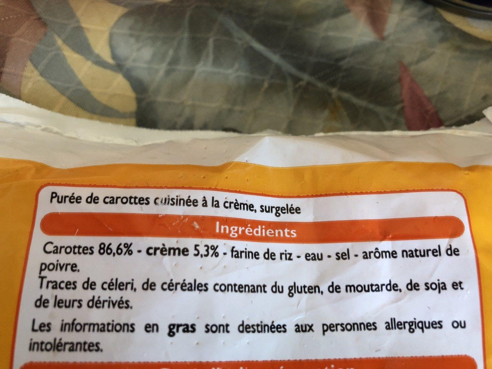 Purée de Carottes - Ingrédients