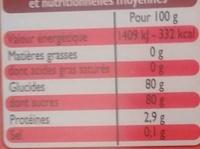 Édulcorant à base de Sucralose - Informations nutritionnelles - fr