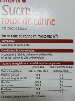 Sucre roux de canne - Ingrediënten - fr