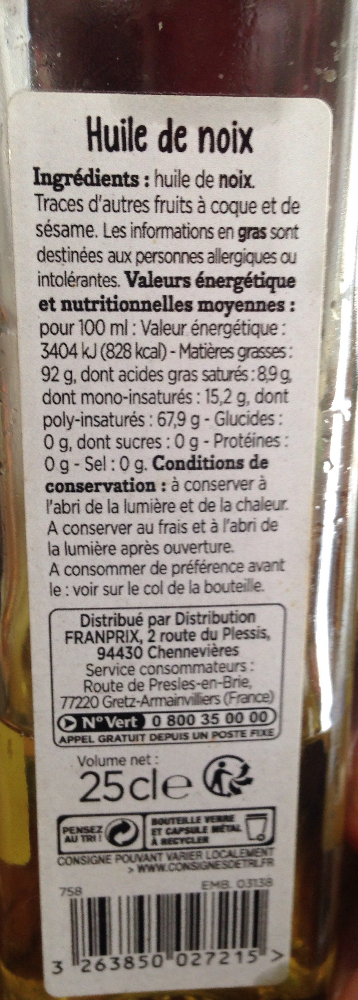 huile de noix franprix