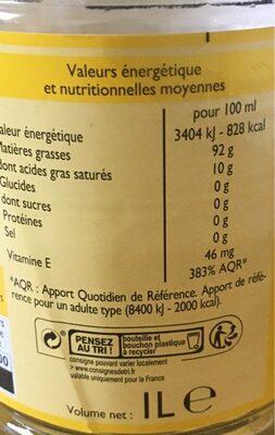 Huile de tournesol - Valori nutrizionali - fr