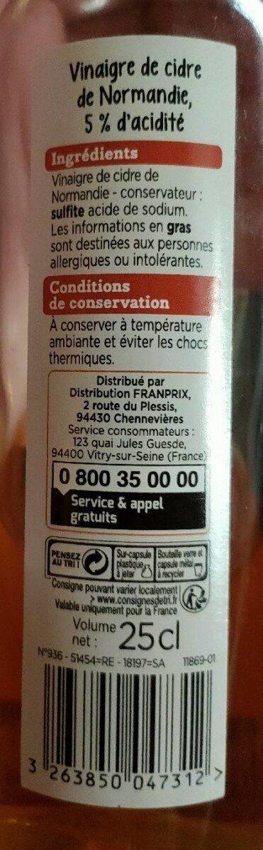 Franprix vinaigre de cidre de Normandie - Nutrition facts - fr