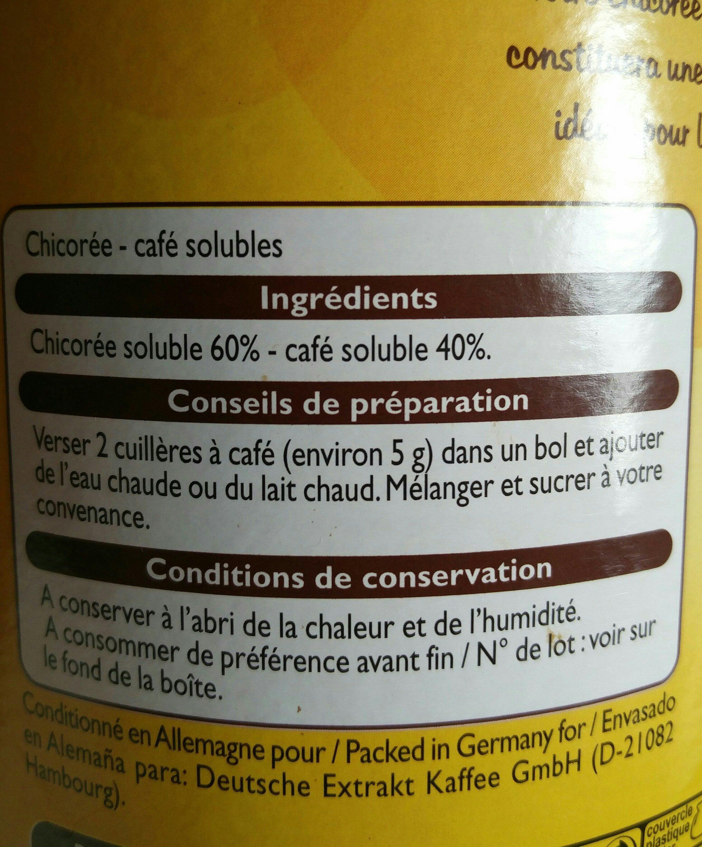Chicorée café - Ingredients