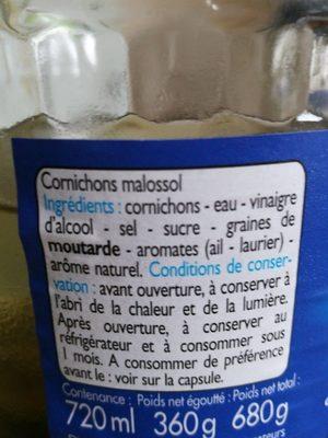 Cornichons malossol à la Russe - Ingrédients