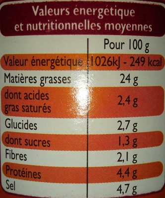 Moutarde Mi-Forte - Nutrition facts - fr