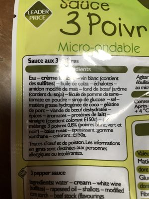 Sauce 3 Poivre Micro-onde, 200g - Ingrédients - fr