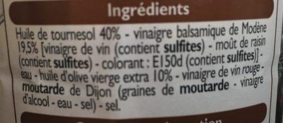 Sauce Vinaigrette à l'Huile d'Olive et Vinaigre Balsamique - Ingredients - fr