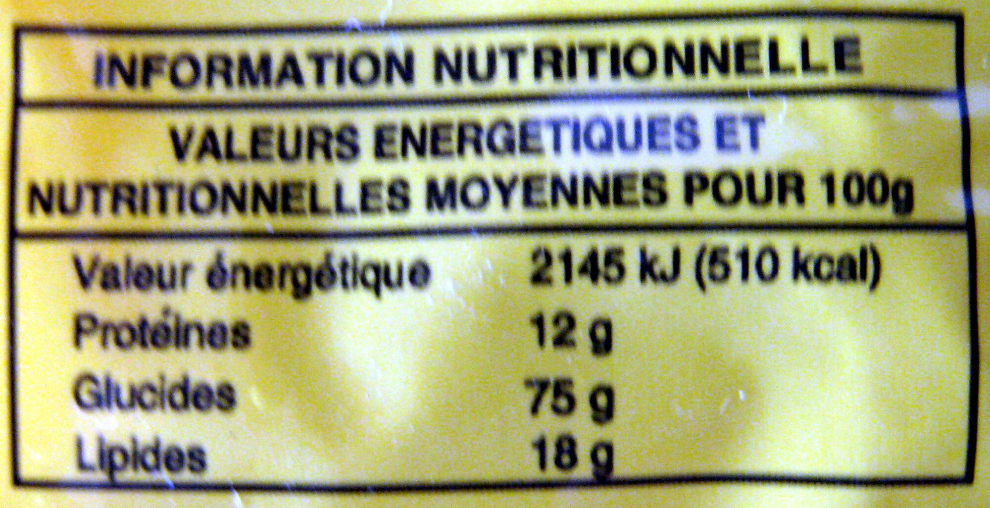 Nouilles orientales saveur curry - 85 g - Leader Price - Informations nutritionnelles - fr