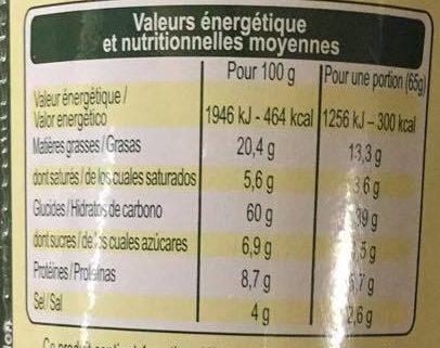 Nouilles saveur Légumes - Informations nutritionnelles - fr