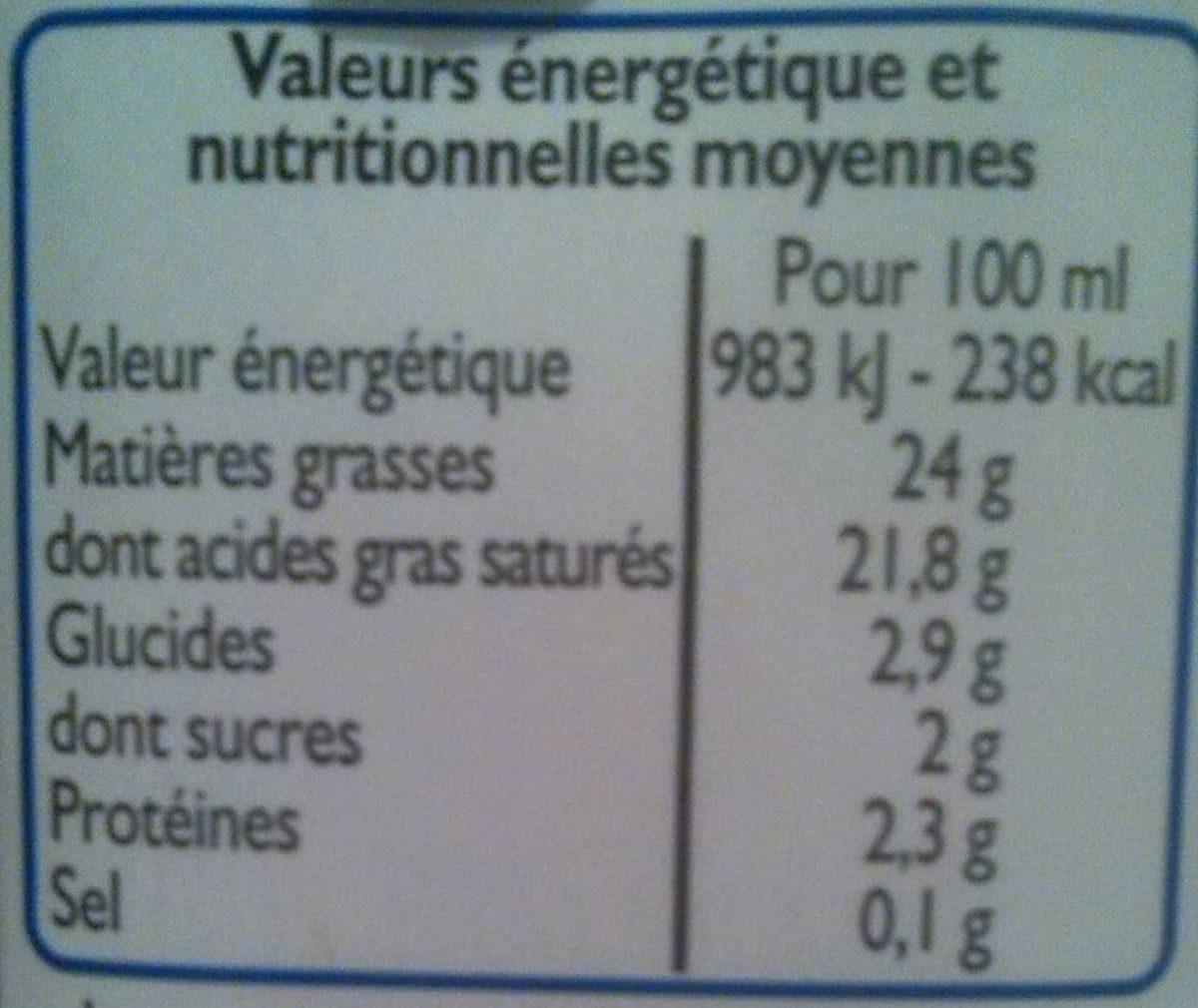 Lait de Coco - Informations nutritionnelles