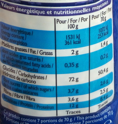 Coquillettes cuisson rapide 3 mn - Nutrition facts - fr