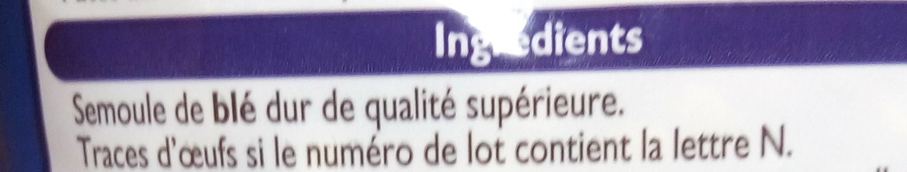 Torti cuisson rapide 3 mn - Ingredients - fr