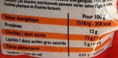 Cheveux d'ange (Qualité supérieure) - Informations nutritionnelles - fr