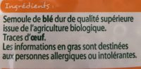 Bio coquillettes - Ingredients - fr
