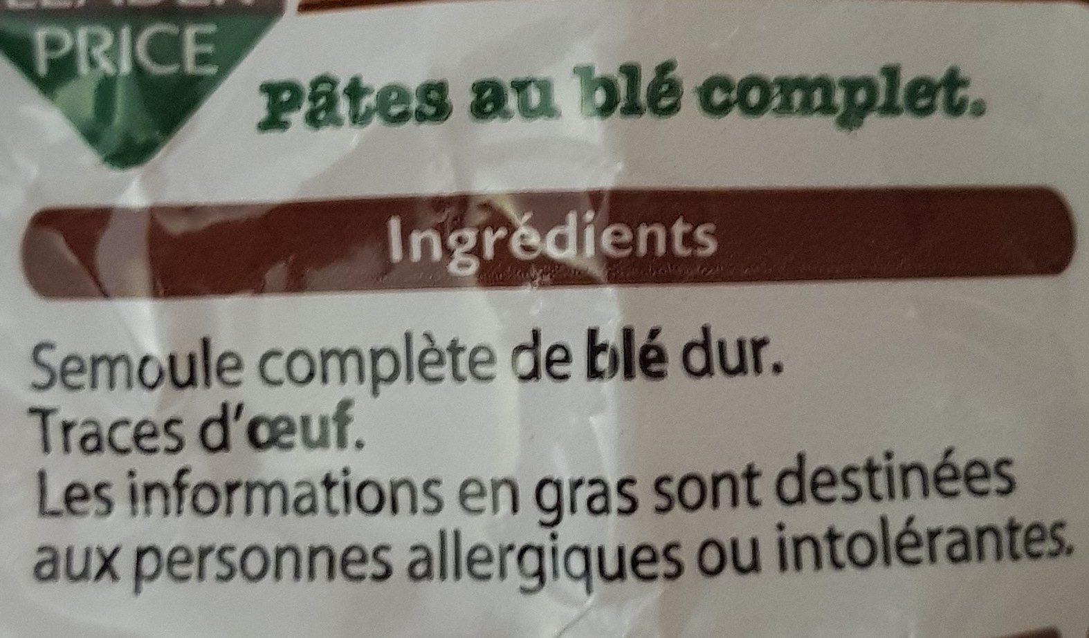 Fusilli au blé complet - Ingrédients - fr