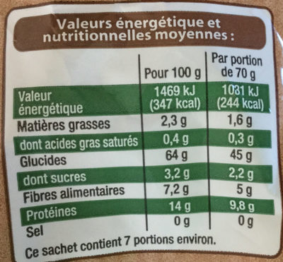 Fusilli au blé complet - Informations nutritionnelles - fr