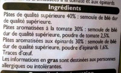 Farfalle à la Tomate et aux Épinards - Ingrediënten - fr