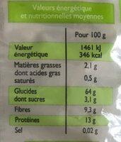 Farfalles complètes bio - Nutrition facts - fr