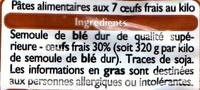 Papillons - Pâtes d'Alsace 7 Œufs Frais au Kilo - Ingredients