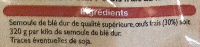 Pâtes aux œufs frais, Tagliatelles (Pâtes d'Alsace) - Ingrédients