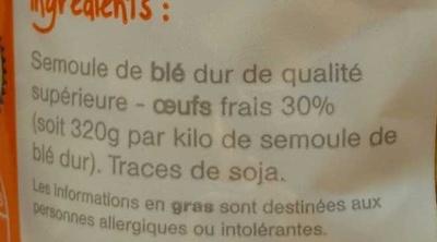 Coquillettes, Pâtes d'Alsace aux œufs frais - Ingrédients - fr