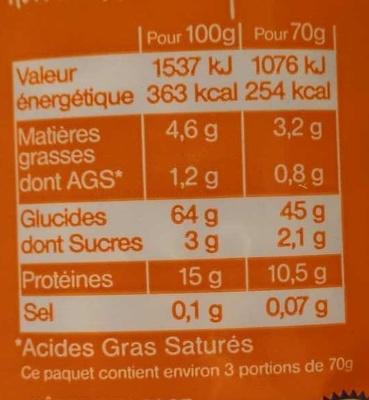 Coquillettes, Pâtes d'Alsace aux œufs frais - Informations nutritionnelles - fr