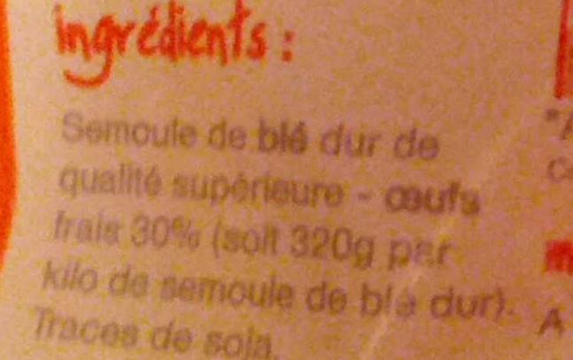 Torsades, Pâtes d'Alsace aux œufs frais - Ingrédients