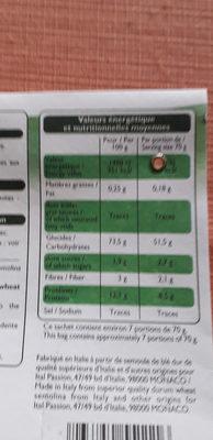 Rigatoni - Informations nutritionnelles