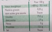 Lumache - Informations nutritionnelles