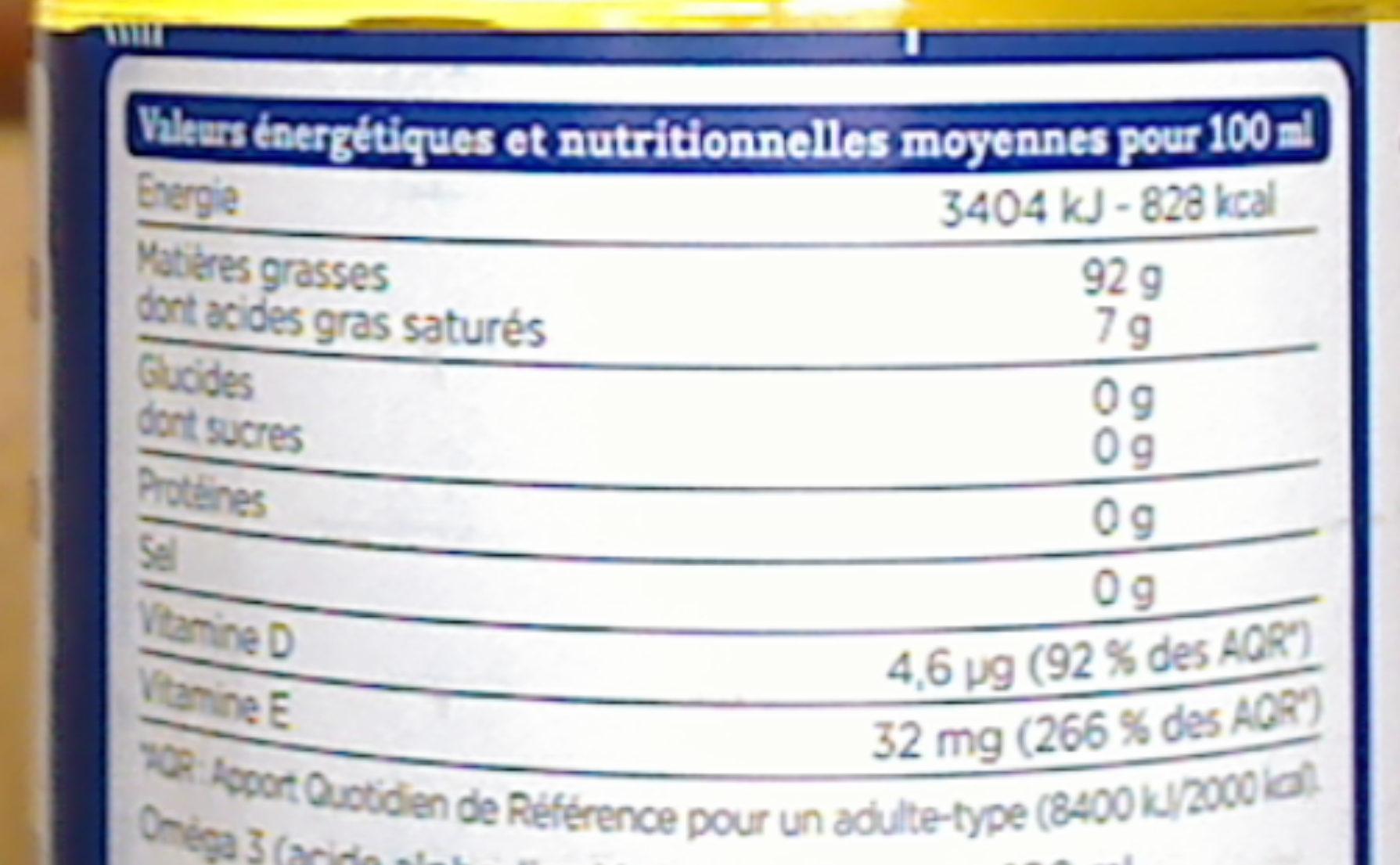 Mélange 4 huiles - Informations nutritionnelles - fr