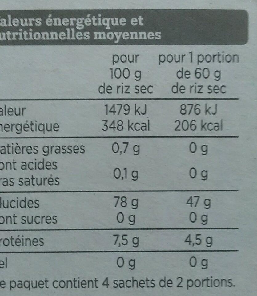 Riz long grain - Nutrition facts