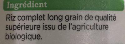 Riz Long Complet - Ingrédients