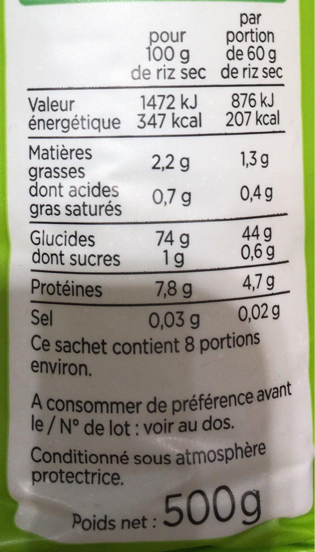 Riz Long Complet - Informations nutritionnelles - fr