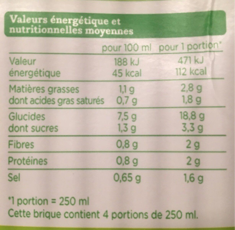 veloute legumes bio - Valori nutrizionali - fr