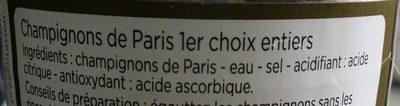 champignons de Paris entiers premier choix - Ingrédients - fr