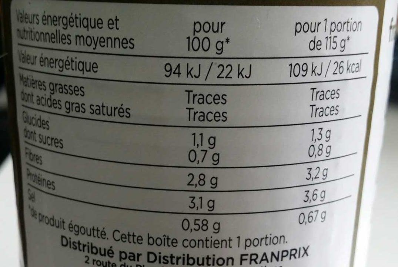 champignons de Paris entiers premier choix - Informations nutritionnelles - fr