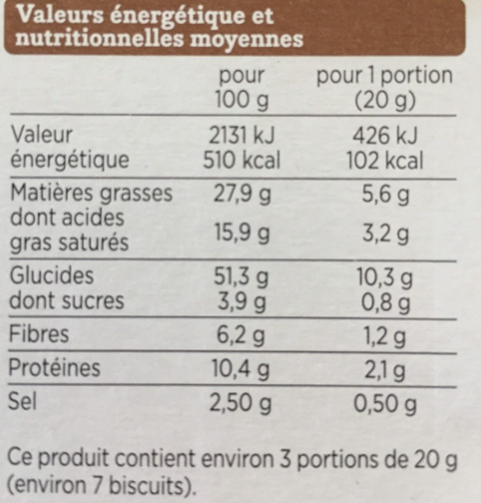 Triangles graines de sésames et de pavot - Nutrition facts