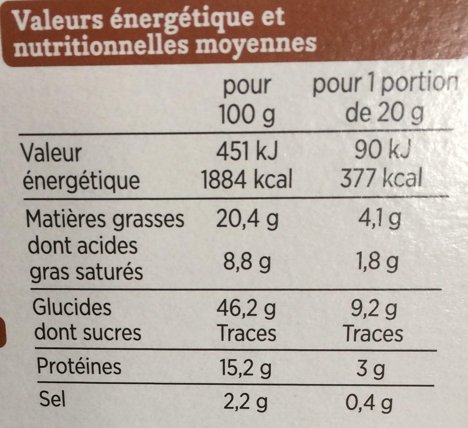 Craquines mélange de graines - Nutrition facts - fr