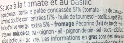 Sauce Tomate Basilic - Ingredientes