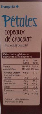 Pétales copeaux de chocolat - Informations nutritionnelles - fr