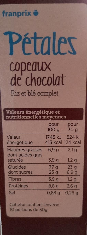Pétales copeaux de chocolat - Nutrition facts