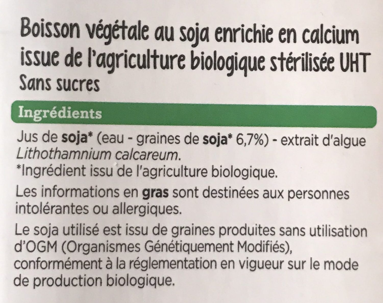 Boisson au soja - Ingrédients - fr