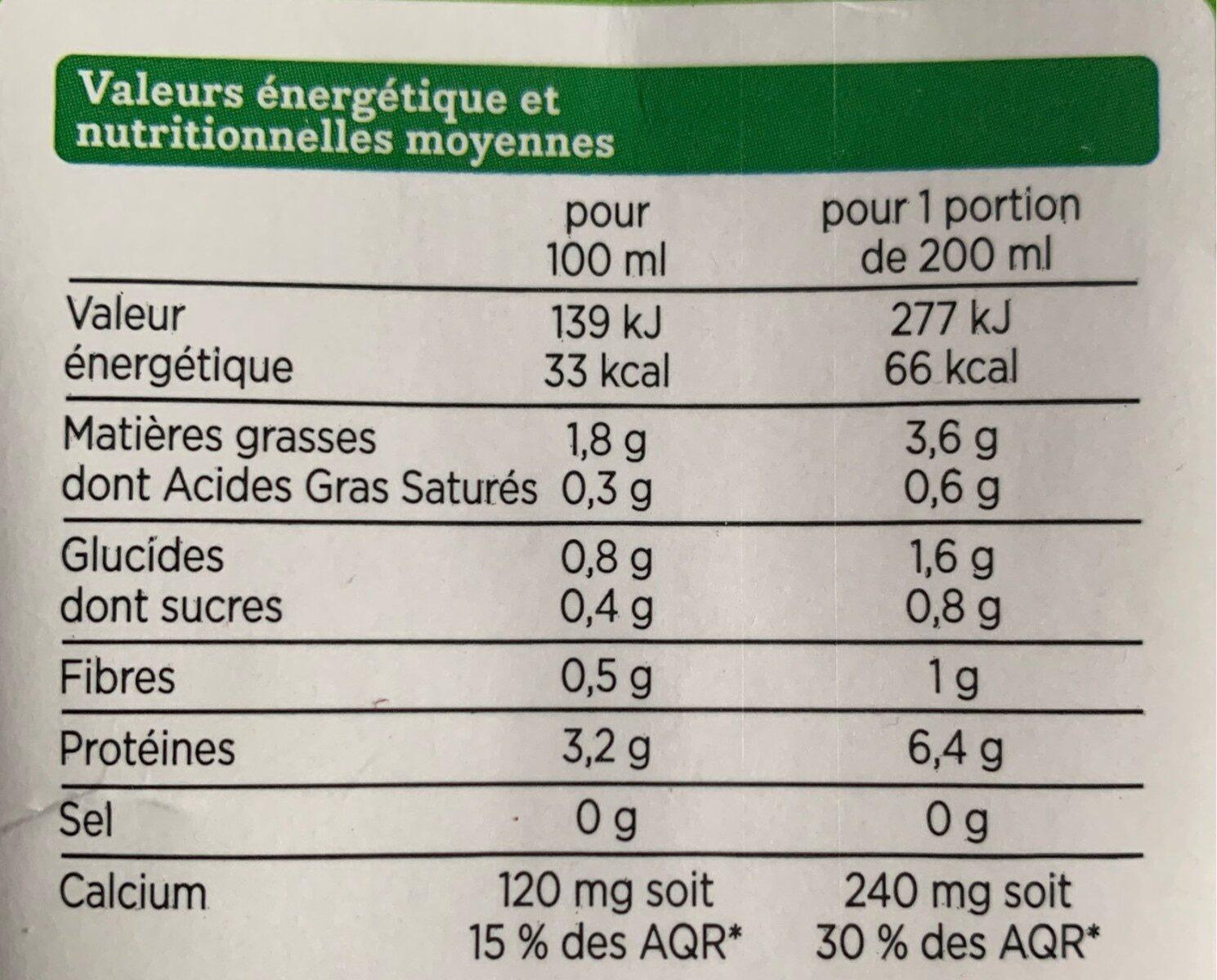 boisson soja enrichie en calcium bio - Valori nutrizionali - fr