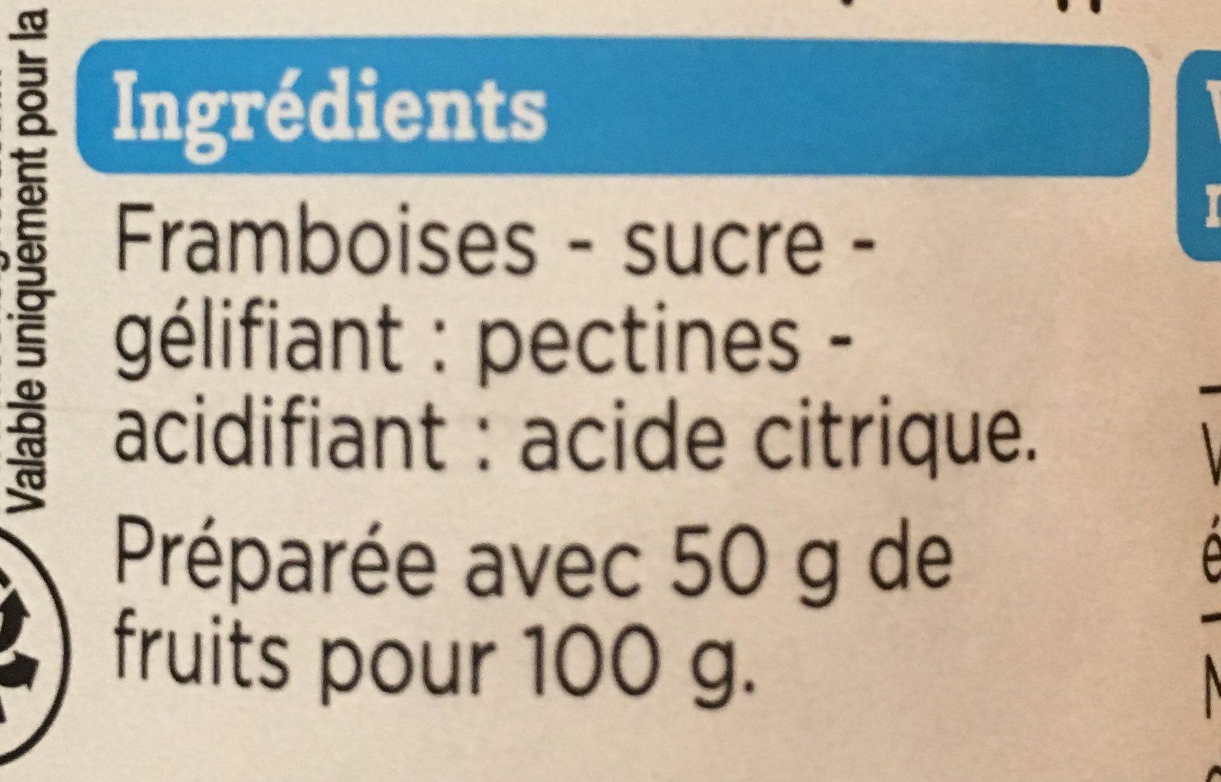 Confiture Allégée Framboises - Ingredients