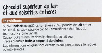 Chocolat lait noisettes - Ingredients