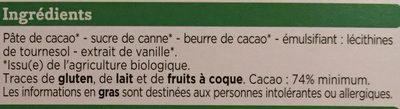 tablette degustation chocolat noir bio - Ingredienti - fr