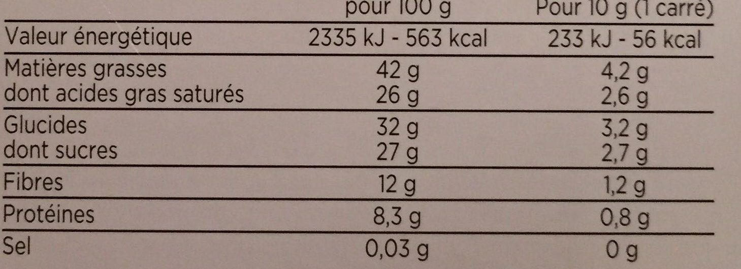 tablette degustation chocolat noir bio - Valori nutrizionali - fr