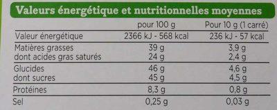 Chocolat au lait dégustation bio - Nutrition facts